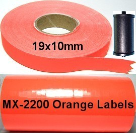 16 Rolls Pack Orange Labels w/ Ink for MX-2200 MX22EL