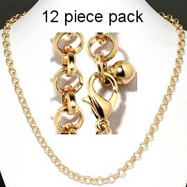 "12 pcs 20"" Gold Chain NK548"