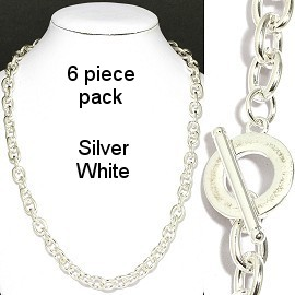 "6 pcs 20"" Silver White Chain NK551"