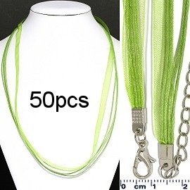 "50pc 22"" Ribbon 4Rope Cord Lime NK569"