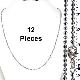 "12pcs 20"" Inches Silver Tone Ball Chain Lobster Claw End NK577"