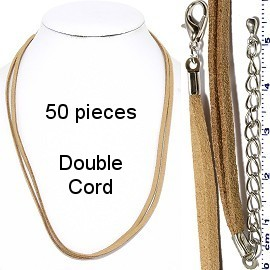 "50pcs 18"" Inches Double Strand Felt Cord Lobster End Tan NK587"