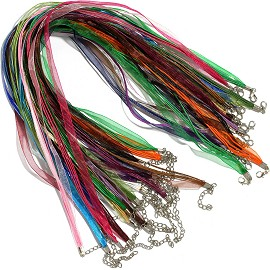 "50pc Mix Colors 18""-19.5"" Ribbon Cord Necklace NK603"