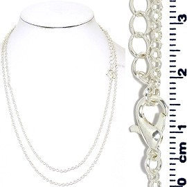 "12pc 31"" Inches Long Chain Necklace Silver Tone Nk618"