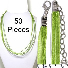 "50pcs-pk 18"" Ribbon 4Rope Cord Necklace Green Tea NK641"