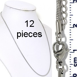"12pcs 17.5"" to 19.5"" Stainless Steel Sn Chain Necklace 2mm NK644"