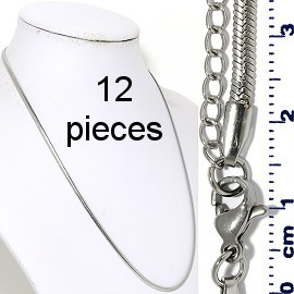"12pcs 17.5""-19.5"" Stainless Steel Chain Necklace 3x1mm NK645"
