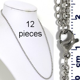 "12pcs 17.5""-19.5"" Stainless Steel O Chain Necklace 3mm NK649"