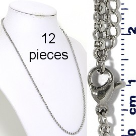 "12pcs 20"" to 22"" Stainless Steel O Chain Necklace 3mm NK650"