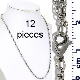 "12pcs 18"" to 20"" Stainless Steel Square Chain Necklace 3mm NK651"