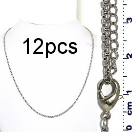 "12pcs 17.5"" to 19.5"" Stainless Steel Chain Necklace 2mm NK656"