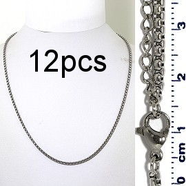 "12pcs 17.5"" to 19.5"" Stainless Steel Chain Necklace 2.5mm NK657"