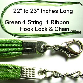 "50pcs-pk 23"" Cord 4Strings-1Ribbon tear Green NK176"