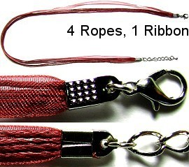 "50pcs-pk 18"" Cord 4Strings-1Ribbon Dark Red NK184"