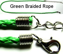 "50pcs-pk 18"" Cord Leather Braided Green NK197"