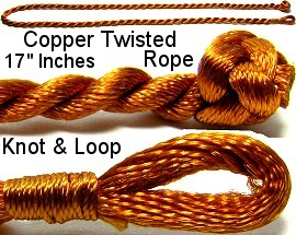 "50pcs-pk 17"" Cord Twisted Knot Loop Copper NK216"