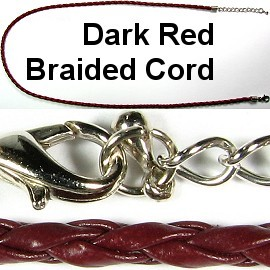 "20"" 3mm Dark Red Braided Cord Ns273"
