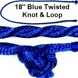 "50pcs-pk 18"" Cord Twisted Knot Loop Blue NK290"