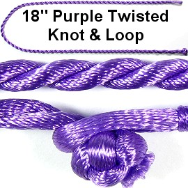 "50pcs-pk 18"" Cord Twisted Knot Loop Purple NK291"