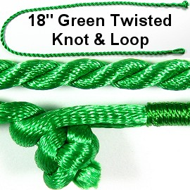"50pcs-pk 18"" Cord Twisted Knot Loop Green NK295"
