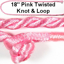 "50pcs-pk 18"" Cord Twisted Knot Loop Pink NK296"
