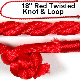 "50pcs-pk 18"" Cord Twisted Knot Loop Red NK298"