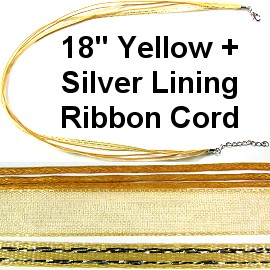 "50pcs-pk 18"" Cord 3Strings-2Ribbons Silver Lining Yellow NK300"