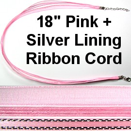 "1pc 18"" Pink Silver Lining Ribbon Cord Ns301"