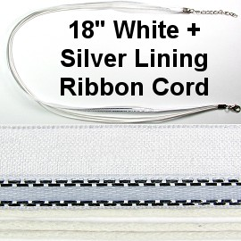 "50pcs-pk 18"" Cord 3Strings-2Ribbons Silver Lining White NK303"