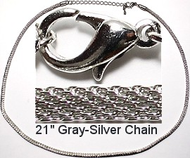 "18"" 12pcs Silver Gray Snake Metal Chain Nk322"