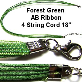 "18"" AB Ribbon Forest Green 4 String Cord Ns333"