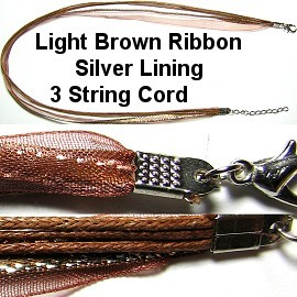 "50pcs-pk 18"" Cord 3Strings-2Ribbons Silver Lining Brown LT NK337"