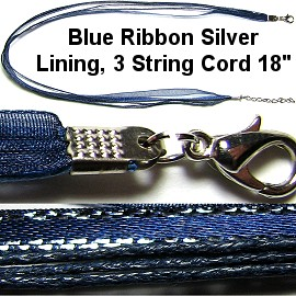 "50pcs-pk 18""Cord 3Strings-2Ribbons Silver Lining Navy Blue NK339"