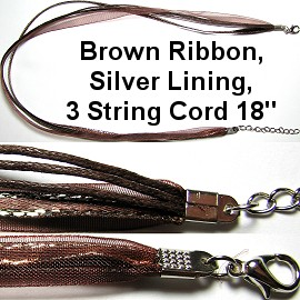 "50pcs-pk 18"" Cord 3Strings-2Ribbons Silver Lining DK Brown NK344"