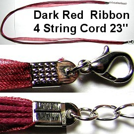 "50pcs-pk 23"" Cord 4Strings-1Ribbon Red Dark NK349"