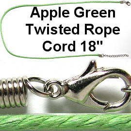 "50pcs-pk 18"" Cord Twisted Apple Green NK362"