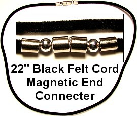 "20pcs 22"" Black Felt Cords Magnetic End Connecter NK370"