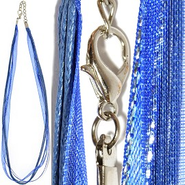 "1pc 18"" Ribbon 3Rope Cord Royal Blue Silver Lining Ns480"