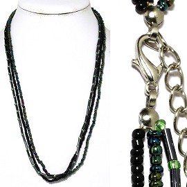 "1pc 18"" 3-Line Bead Necklace Black Aura Borealis Ns50"
