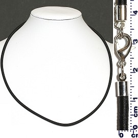 "1pc 19"" Long, 3mm Thick Necklace Cord Lobster Claw Black Ns536"