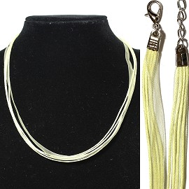 "1pc 18"" 1 Ribbon, 4 Cord Necklace Light Yellow Ns538"