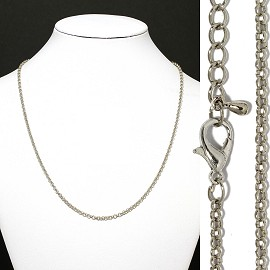 "1pc 16.5"" Chain 2mm Thick Cord 5mm Thick End Silver Ns541"