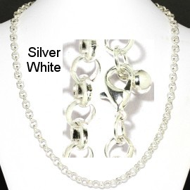 "1pc 20""Chain Necklace 6mm Thick Silver White Ns549"