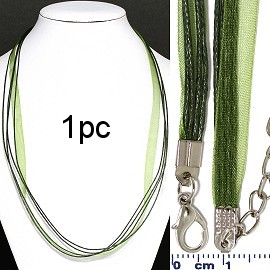 "1pc 22"" 1 Ribbon, 4 Cord Necklace Green Ns568"