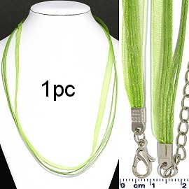 "1pc 22"" 1 Ribbon, 4 Cord Necklace Lime Ns569"