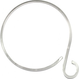 1pc Choker Metal Alloy Round Hook Silver Tone 5mm Wide Ns630