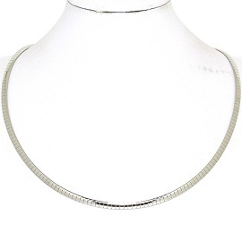 "1pc 17.5""-19.5"" 4mm Stainless Steel Omega Necklace Choker Ns632"