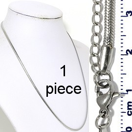 "1pc 17.5"" to 19.5"" Stainless Steel Chain Necklace 3x1mm Ns645"