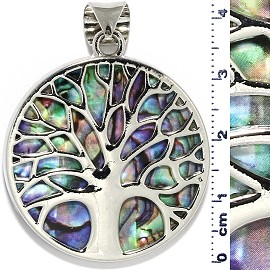Circle Pendant Tree Of Life 34mm Green Purple Silver Tone PD000
