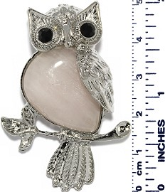 Owl Branch Silver Metallic Light Pink Rose Quartz Pendant PD001